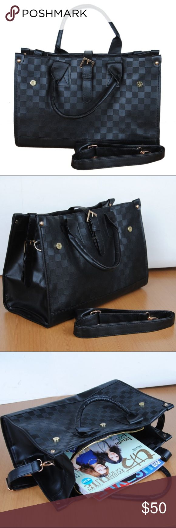 Black Checkered Shoulder Bag This stylish yet neutral Purse goes with anything. Dress it up or down whatever you'd like Bags Shoulder Bags