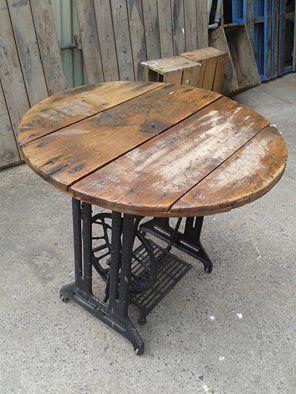 Sewing machine base table #singer #sewingmaching #sew #cabledrum #wood #repurposed #handmade #reel