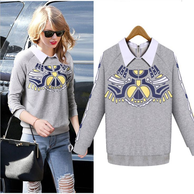 Large size 2016 New Autumn Winter Fashion Women Sweatshirts Lapel Loose Printing Fake Two Long-Sleeved Female Pullover Hoodies