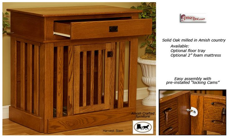 Wooden dog crate with drawer dog cat home decor for Amish wooden dog crates
