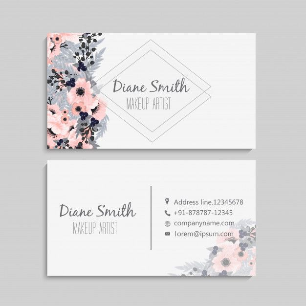 Set Of Front And Back Of Business Card With Flowers Premium Vector Freepik Vector Graphic Design Business Card Cute Business Cards Business Cards Creative
