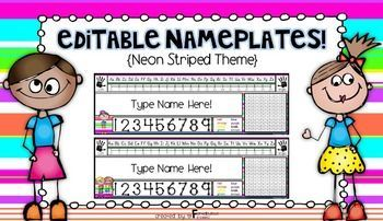 """Add some pizzazz to your classroom by using these EDITABLE neon striped nameplates {legal paper size}! You will be able to use these nameplates over and over again!! This unit includes 15 different """"Neon Striped"""" themed nameplates. Nameplates include: **alphabet line (D'Nealian Font and Regular"""