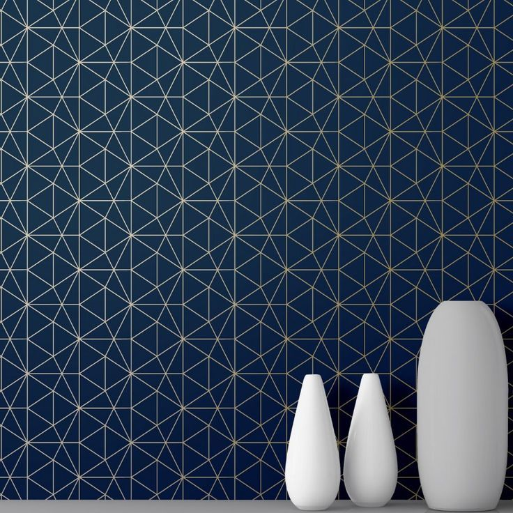 Metro Prism Geometric Triangle Wallpaper Navy Blue and