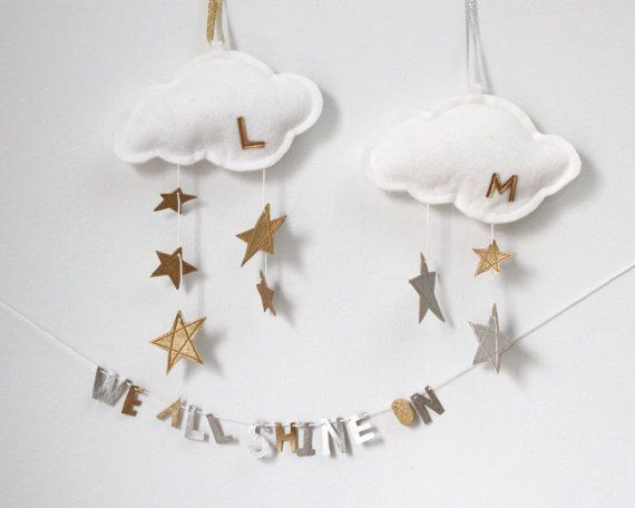 Family Name Ornament Star Cloud - modern keepsake for family's first holiday or nursery decor in metallic gold or silver and white felt