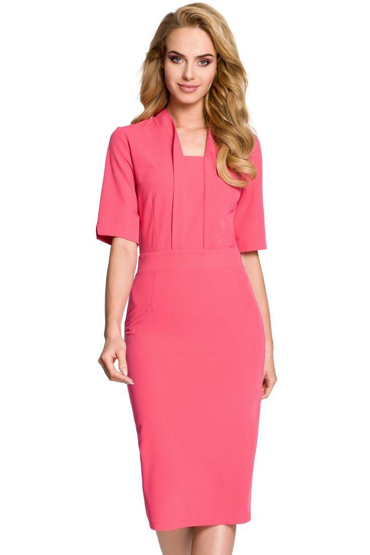 Elegancka Sukienka Ołówkowa Różowa MO310