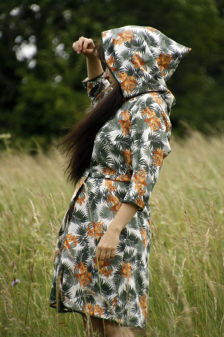 Hooded Tropical orchid forest pattern Midi dress with 3/4 Sleeves and Tassel belt by CelestialGoat on Etsy