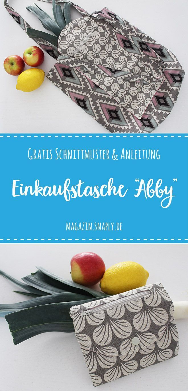 """Kostenlose Anleitung: Faltbare Einkaufstasche """"Abby""""   – Schnittmuster kostenlos Taschen"""