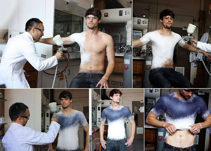 Sustainable spray on fabric turns into clothes upon application - truly amazing...x