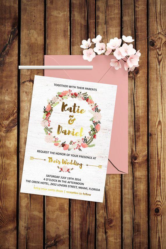 Blush Wedding Invitation Garden Wedding Invitation by BohemePrints