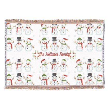 Christmas Happy Snowmen Holiday Personalized Throw Blanket - merry christmas diy xmas present gift idea family holidays