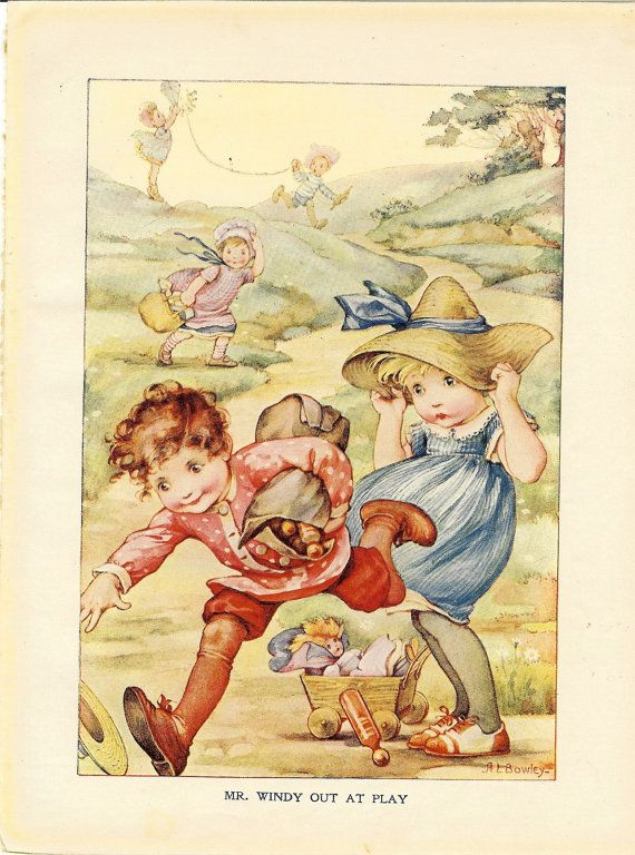1915 Vintage Windy Weather Childrens Print Flying A Kite Hanging On To Hats Wind Blowing Boy and Girl Book Plate