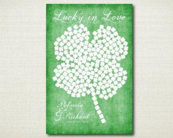 Four Leaf Clover Guest Book Poster  Irish Wedding Guest Book