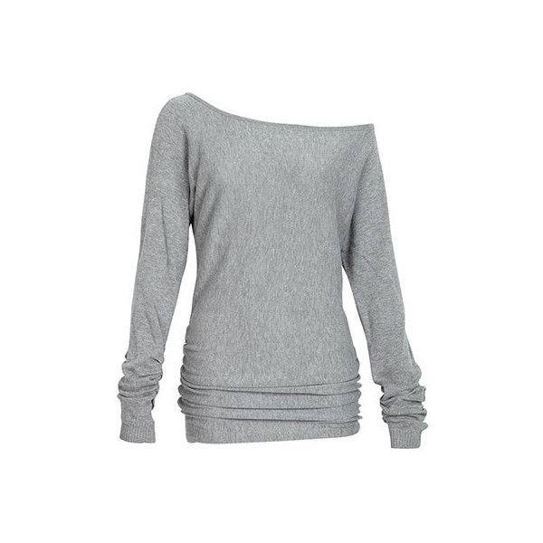 Off-Shoulder Ruched Dolman Sweater ($40) ❤ liked on Polyvore featuring tops, sweaters, shirts, heather gray, off the shoulder sweater, dolman top, off the shoulder tops, dolman shirt and off shoulder dolman top