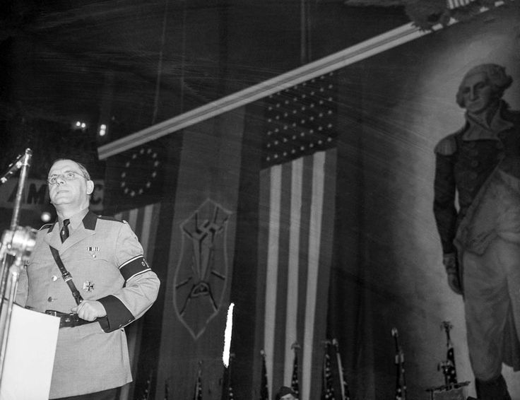 Fritz Kuhn, leader of the German American Bund, addresses the Nazi rally in Madison Square.