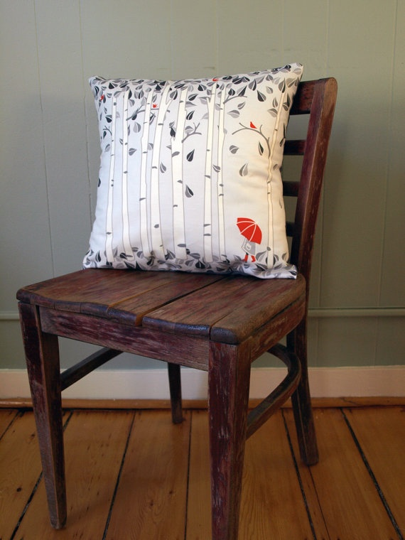 Linen Birch Tree Printed Pillow In Greys And By LilleputtStudio, $54.00