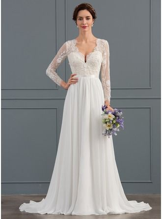 A lineprincess v neck sweep train chiffon wedding dress with a lineprincess v neck sweep train chiffon wedding dress with beading sequins 002134400 pinterest wedding cream wedding and chiffon wedding dresses junglespirit Images