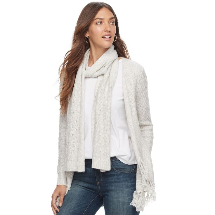 Women's SONOMA Goods for Life™ Scarf & Cardigan, Size: Medium, Light Grey