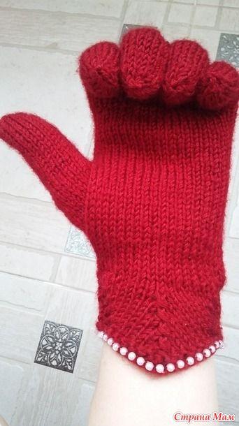 МК перчатки спицами с индийским клином и бусинами. Мое изобретение