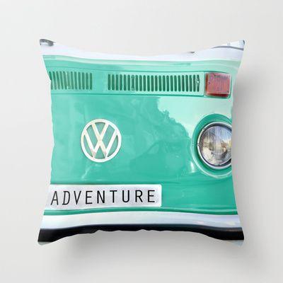 Adventure wolkswagen. Summer dreams. Green Throw Pillow by Guido Montañés - $20.00