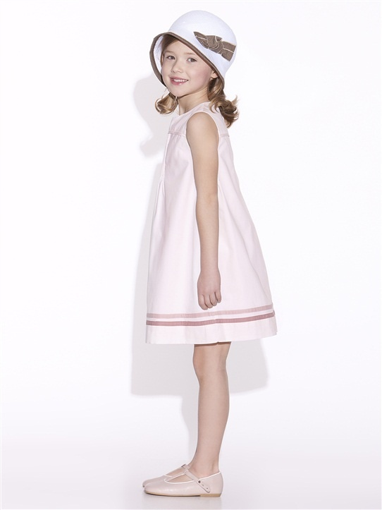 ROBE CHASUBLE FILLE ROSE PALE+MARINE