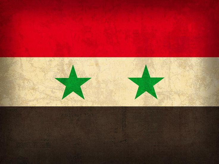 Syria Flag Vintage Distressed Finish Mixed Media