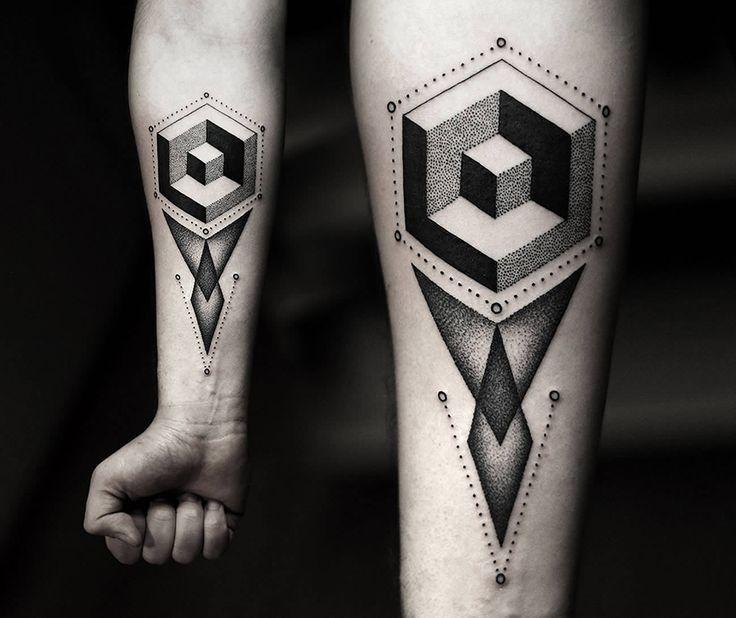 3d geometric shapes tattoo by kamil czapiga