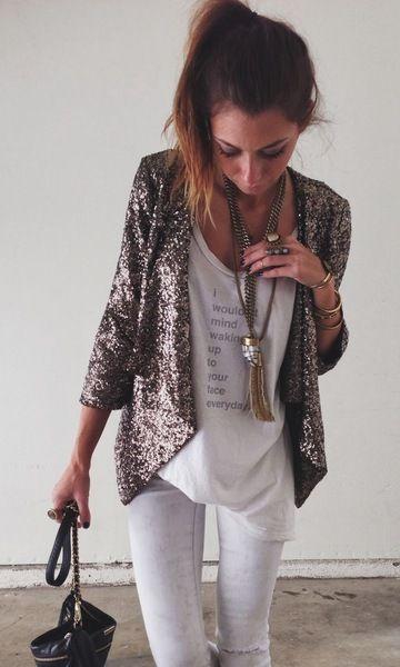 Look Camiseta Branca: Paetê