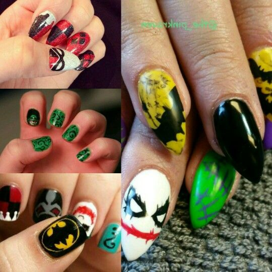 Batman - nails - art - idea - the joker - the riddler