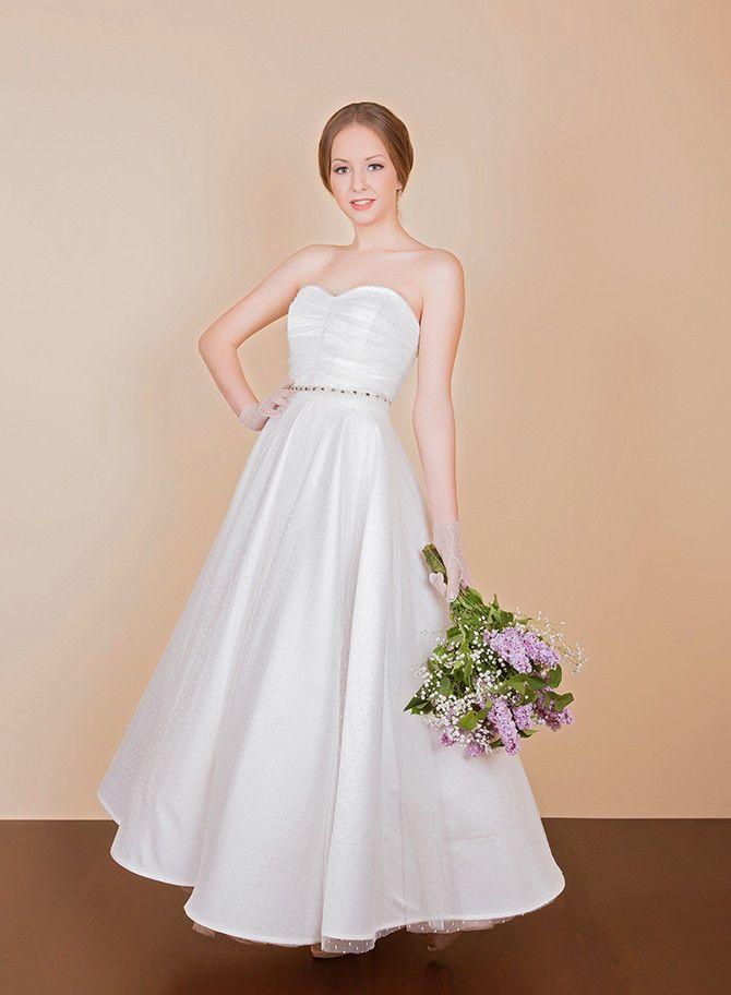 Ankle length polka dot tulle wedding dress sample sale RRP £850  | eBay