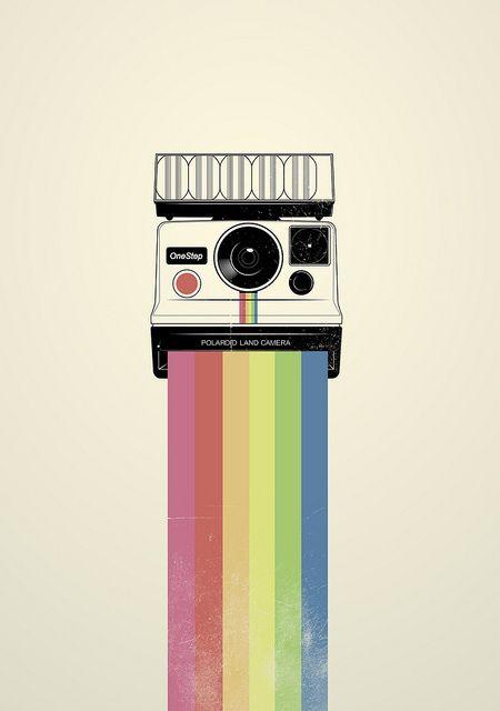 Cool Polaroid rainbow.