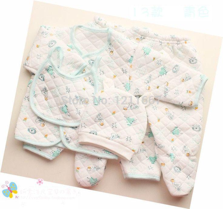 Ребенка осенью и зимой ребенка 5 сэндвич частей комплект новорожденного ребенка нижнее белье одежда из 100% хлопок тепловой комплект пакет комплект для младенцев