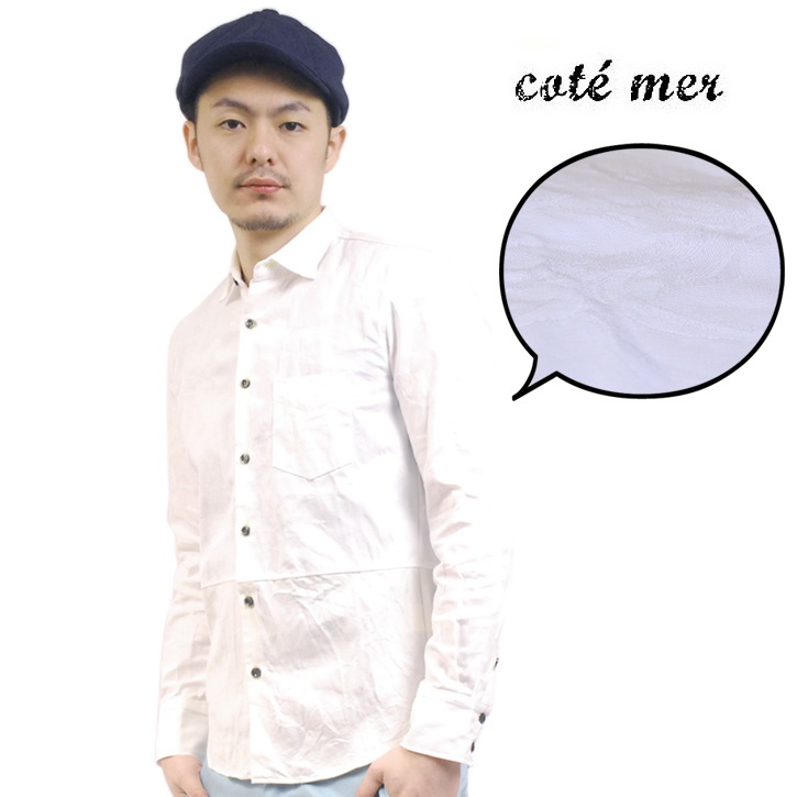 COTE MER (コートメール) シャツ 長袖 ホワイト×ベージュ 花柄 SH-S13-012 BEIGE 【送料無料】 sh-cot-018