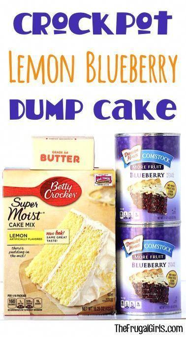 Crockpot Lemon Blueberry Dump Cake Rezept! ~ bei TheFrugalGirls.com ~ diese Delikatesse …