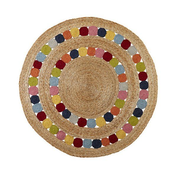 Whether they're romping, stomping, rolling around or just lolling aout, kids deserve tactile quality and classic style. Delicately crafted from braided and hand stitched soft Bangladeshi hemp, simple circles define this design to create a welcoming play area. armadillo rugs are designed to excite, delight and inspire your children's spaces.  size 1.55m