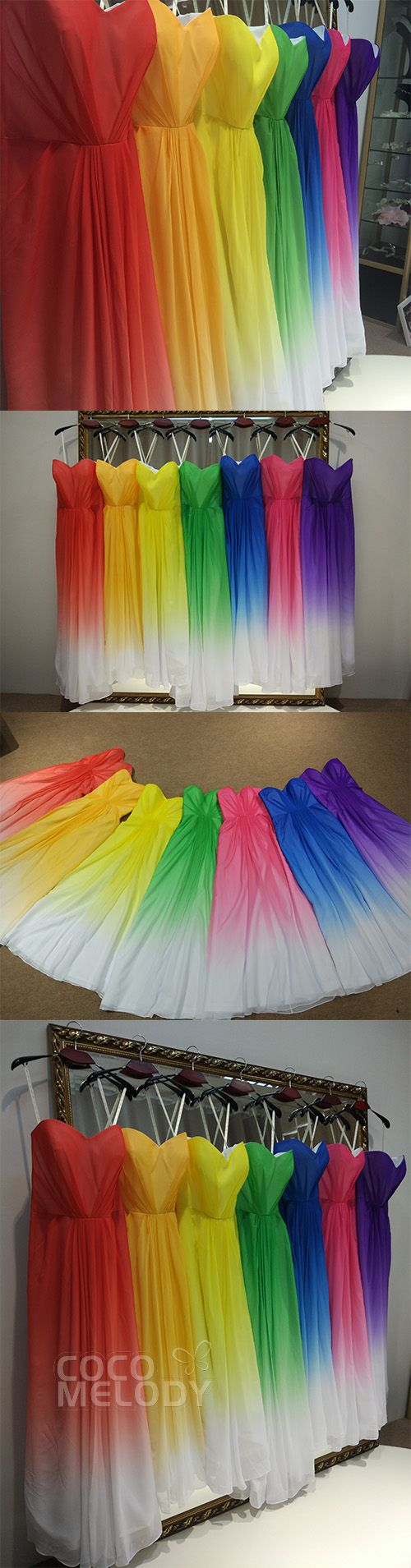 "Amaizng rainbow bridesmaid dresses .Will you say ""yes "" to them . #cocomelody"
