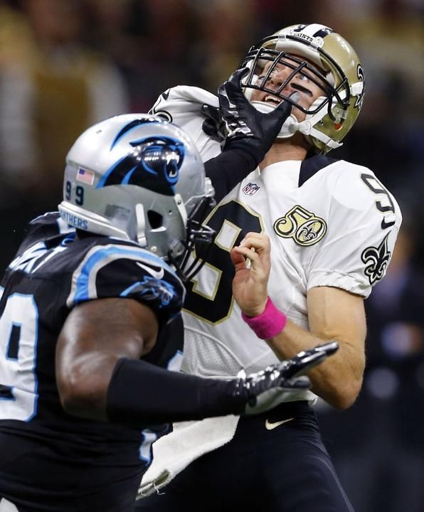 Panthers Saints Football Kawann Short, Drew Brees