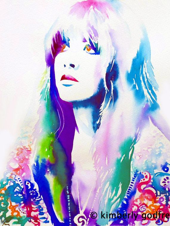 70er Jahre Mode Kunstdruck Original Aquarell Malerei Portrait 70er Jahre Haare Illustration Zigeuner Art blau rosa Blumen Boho                                                                                                                                                      More