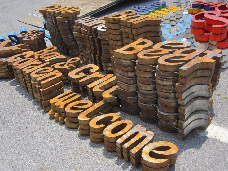 Rustic metal words, 2-sided / boxed