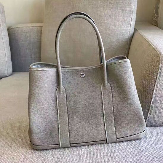 e97c58212947 Garden Party 36 30 Tote Bag in Imported Togo Leather Light Grey ...