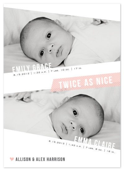 Twin baby announcement from my friend Lehan. Check her out on Etsy!
