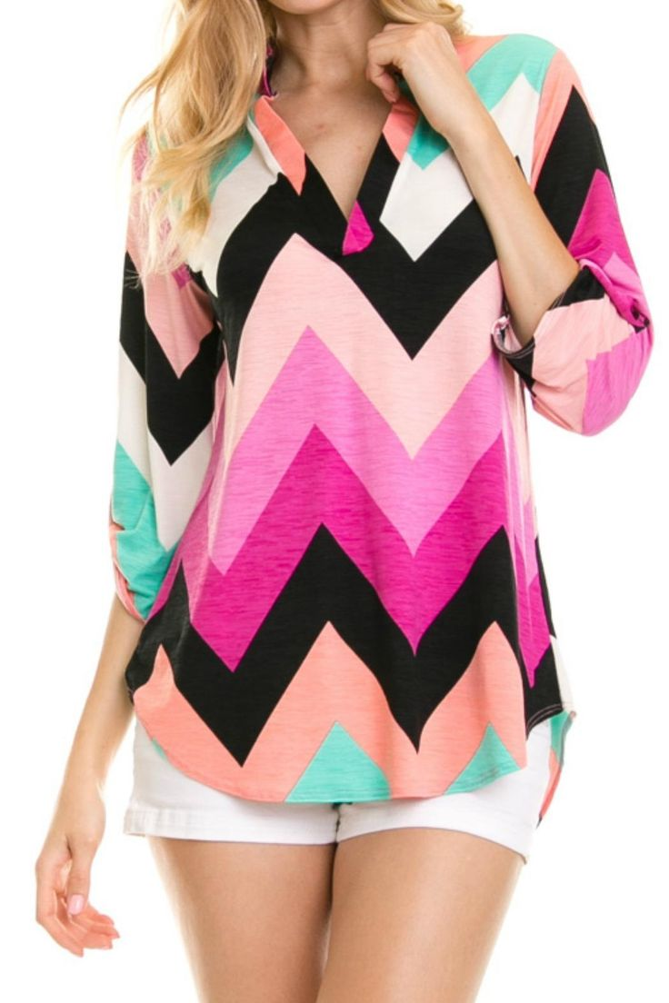 Silk Bright colors Great with jeans leggings or dress slacks  Chevron Top by Vanilla Monkey. Clothing - Tops - Long Sleeve Georgia