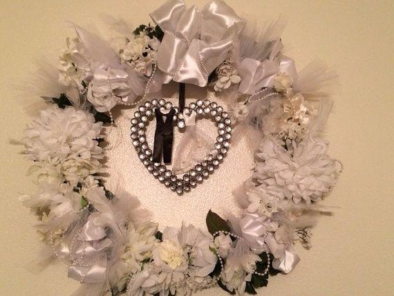 Bridal Shower Decoration, Wedding Decoration White Floral Wreath on Etsy, $74.99