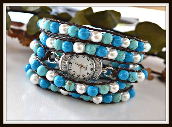 Blue and White Glass Bead Wrap Watch by HeartofGems on Etsy