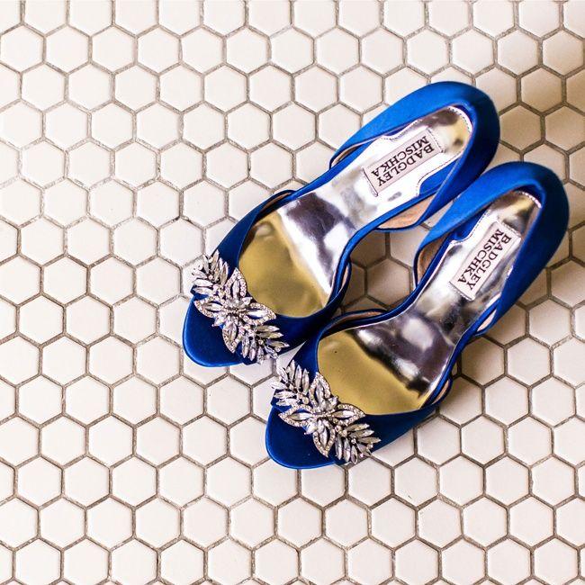 Bright Blue Badgley Mischka Bridal Shoes Korver Photography
