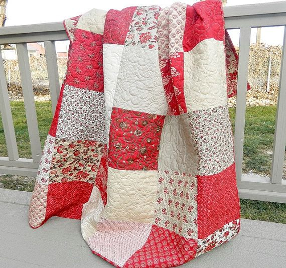 French General, Quilt, HANDMADE, Patchwork, Sofa, Throw, Lap Quilt, by QuiltPetaler, Esprit de noel, french general.   Holiday sale $175.00
