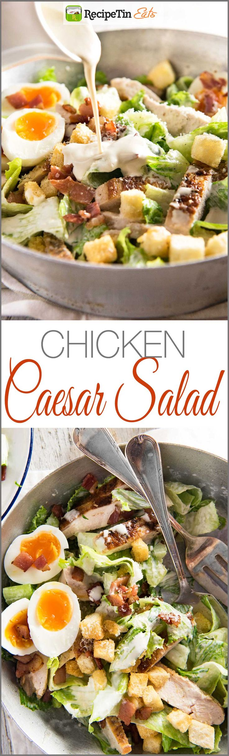 Chicken Caesar Salad - Restaurant quality salad, it's all about the homemade dressing!