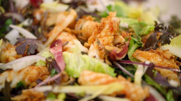 Eén - Dagelijkse kost - Salade met witloof en gebakken inktvis