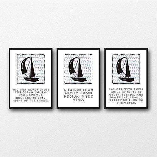 Conjunto de 3 citas de navegación 11 x 14/8 x 10/5 x 7 A3 / A4 / A5 Imprimir ilustraciones de tipografía, regalo para los aficionados a la navegación - Set Of 3 Sailing Quotes