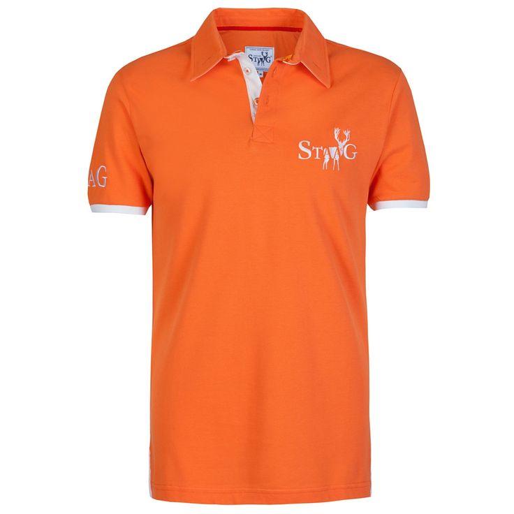 Staag Weekend orange and white polo shirt #fashion #menswear
