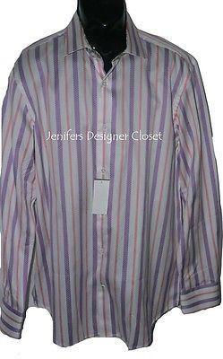 NWT ROBERT GRAHAM Size-17 dress shirt men's sheen broken stripe contrast cuffs